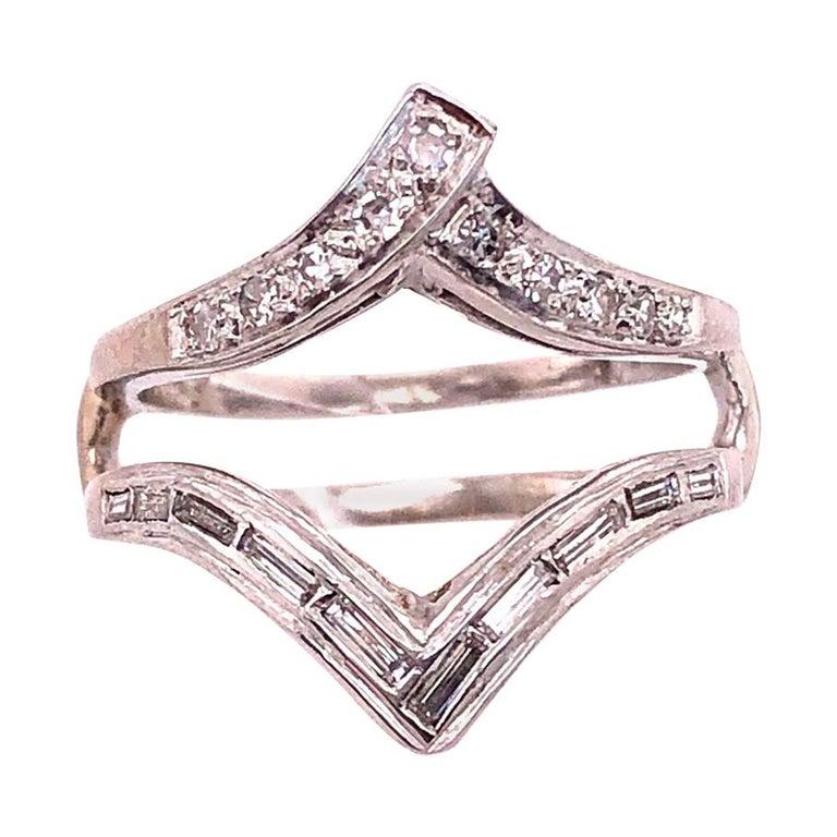 14 Karat White Gold Interlocking Engagement Ring Guard with Diamonds For Sale