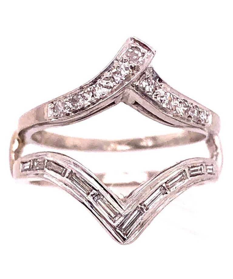 Modern 14 Karat White Gold Interlocking Engagement Ring Guard with Diamonds For Sale