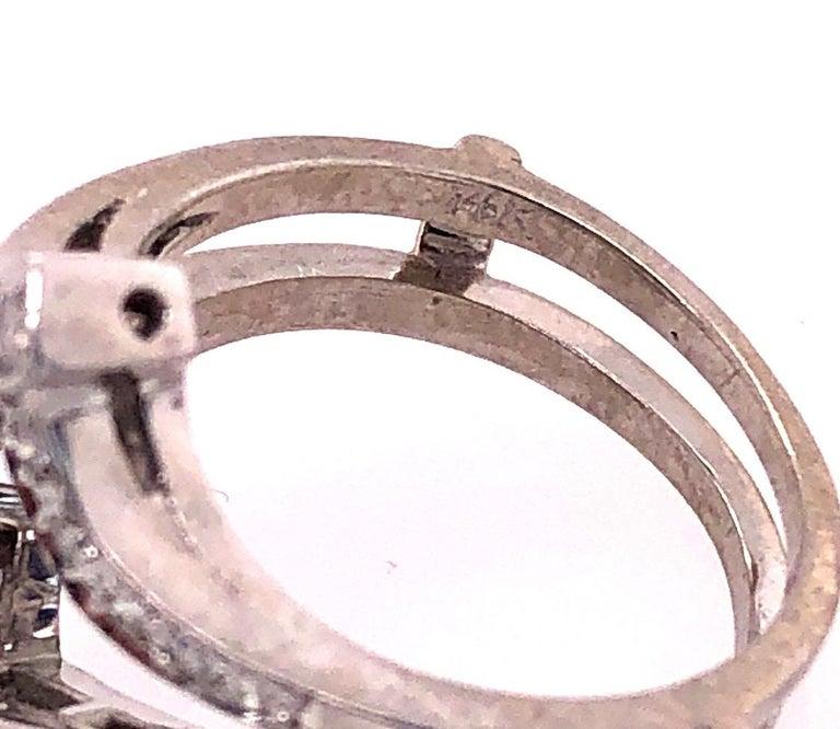 Women's or Men's 14 Karat White Gold Interlocking Engagement Ring Guard with Diamonds For Sale