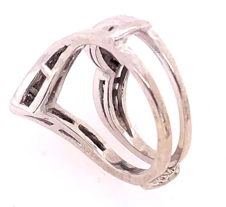 14 Karat White Gold Interlocking Engagement Ring Guard with Diamonds For Sale 1