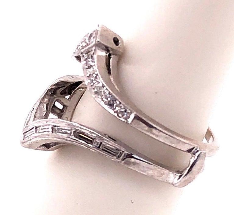 14 Karat White Gold Interlocking Engagement Ring Guard with Diamonds For Sale 2