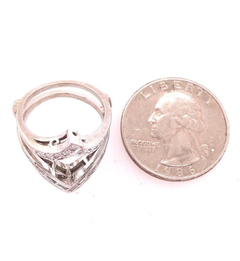 14 Karat White Gold Interlocking Engagement Ring Guard with Diamonds For Sale 3