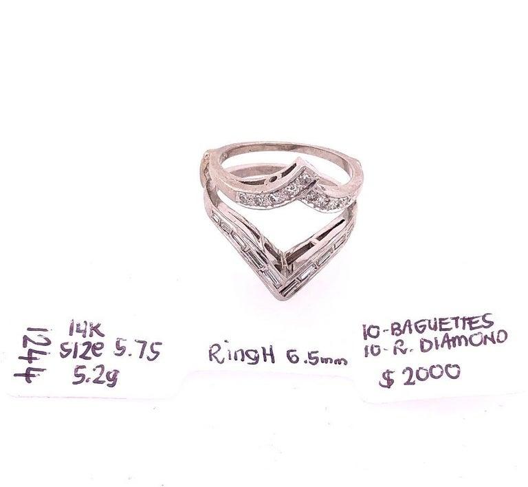 14 Karat White Gold Interlocking Engagement Ring Guard with Diamonds For Sale 4