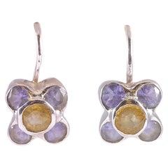 14 Karat White Gold Iolite Amethyst Yellow Sapphire Earrings