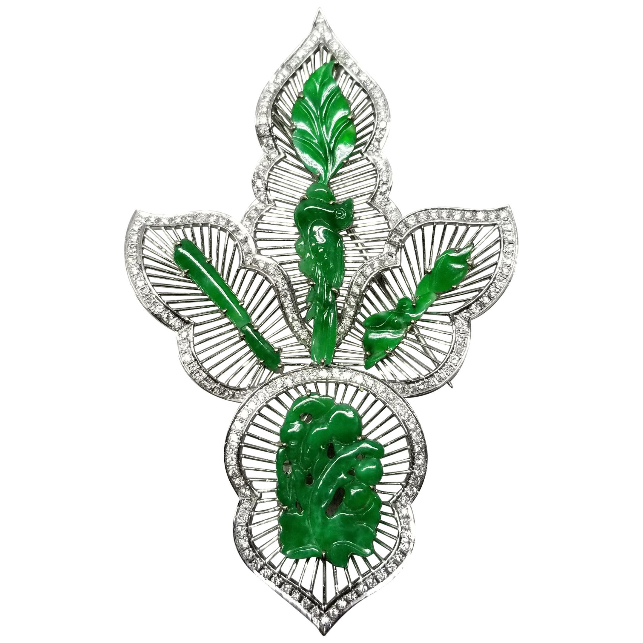 14 Karat White Gold Jade and Diamond Pin/Pendant