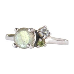 14 Karat White Gold Labradorite, Sky Blue Topaz and Peridot Ring