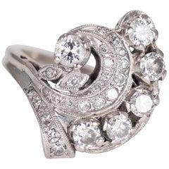 14 Karat White Gold Ladies Art Deco Diamond Cocktail Ring, 1.50 Carat