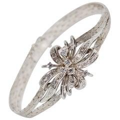 14 Karat White Gold Ladies Bracelet Set with High Quality White Diamonds