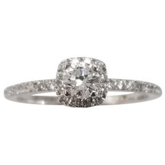 14 Karat White Gold Ladies Diamond Halo Ring