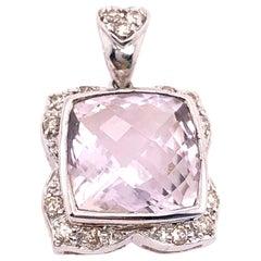 14 Karat White Gold Large Alex Cushion Cut Quartz Pendant with Diamond Accents