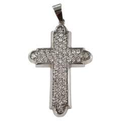 14 Karat White Gold Large Diamond Cross 4.58 Carat in Diamonds