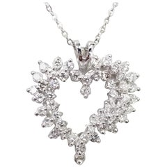14 Karat White Gold Large Diamond Heart Pendant