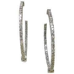 14 Karat White Gold Large Diamond Hoop Earrings 1.50 Carat