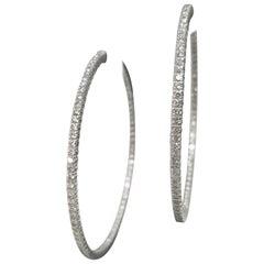 14 Karat White Gold Large Diamond Hoop Earrings 5.02 Carat