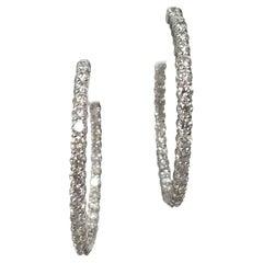 14 Karat White Gold Large Inside-Out Diamond Hoop Earrings 6.85 Carat