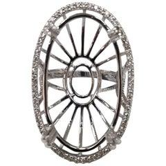 14 Karat White Gold Large Oval Diamond Halo Ring