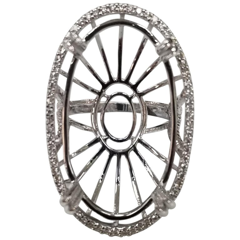 14 Karat White Gold Large Oval Diamond Halo Ring For Sale