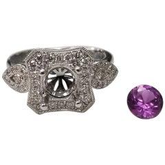 14 Karat White Gold Lavender Amethyst and Diamond Ring