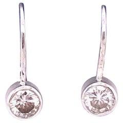 14 Karat White Gold Lever Back Diamond Earrings 0.80 TDW