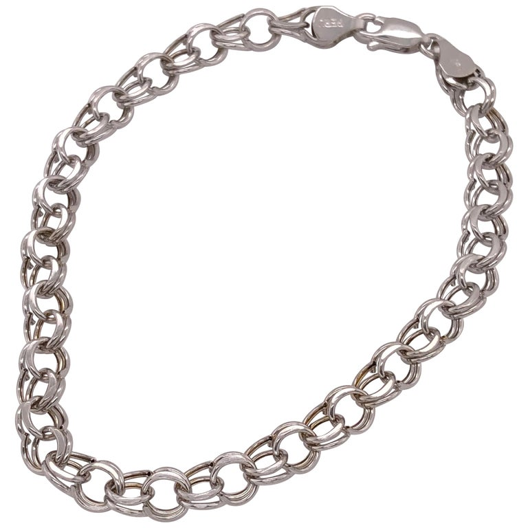 14 Karat White Gold Link Bracelet For Sale