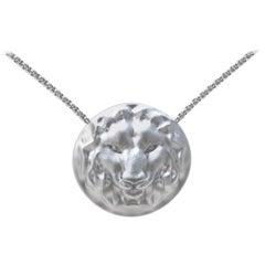 "14 Karat White Gold Womens 18 "" Chain Leo Lion Pendant Necklace"