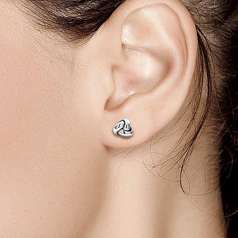 14 karat white gold love knot stud earrings Studs measuring 0.30 inch Gold weight 0.70 gram  New Earrings Push Backs