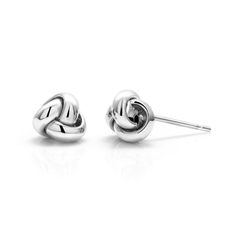 Contemporary 14 Karat White Gold Love Knot Stud Earrings For Sale