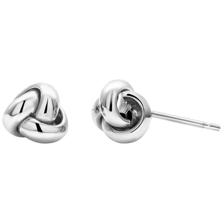 14 Karat White Gold Love Knot Stud Earrings For Sale