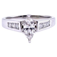 14 Karat White Gold Marquise Cut Diamond Ring