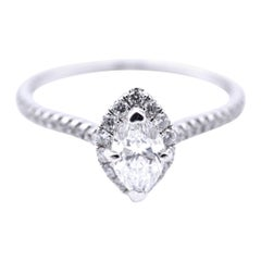 14 Karat White Gold Marquise Diamond Engagement Ring