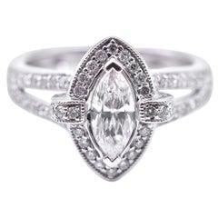 14 Karat White Gold Marquise Diamond Engagement Ring