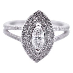 14 Karat White Gold Marquise Diamond Engagement Ring with Double Halo