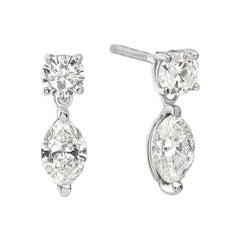 14 Karat White Gold Marquise Drop Dangle Earrings