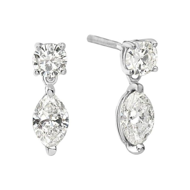 14 Karat White Gold Marquise Drop Dangle Earrings For Sale