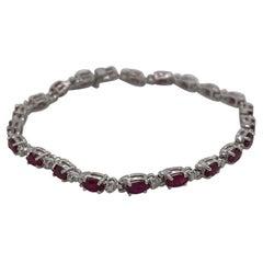 14 Karat White Gold Marquise Ruby & Diamond Bracelet