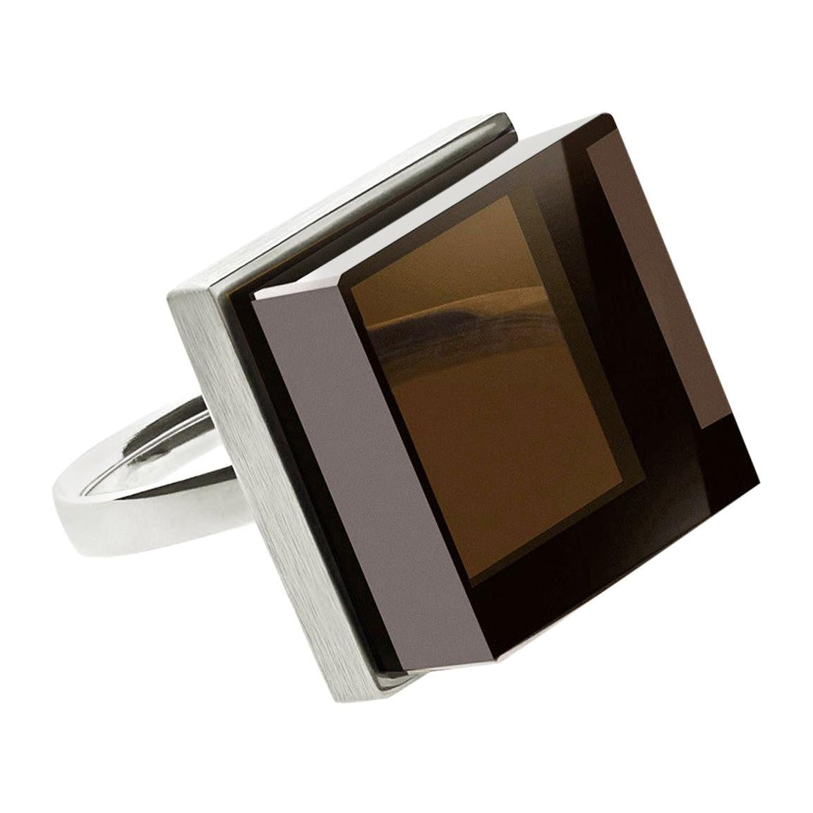 14 Karat White Gold Men Art Deco Style Ink Ring with Smoky Quartz by the Artist