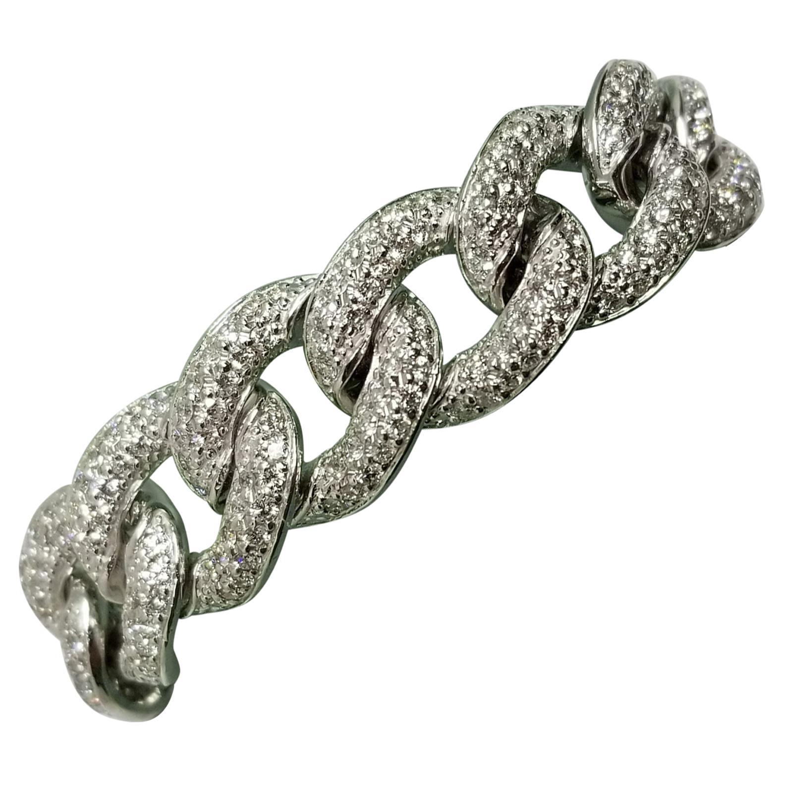 14 Karat White Gold Men's Large Diamond Pave Link Bracelet