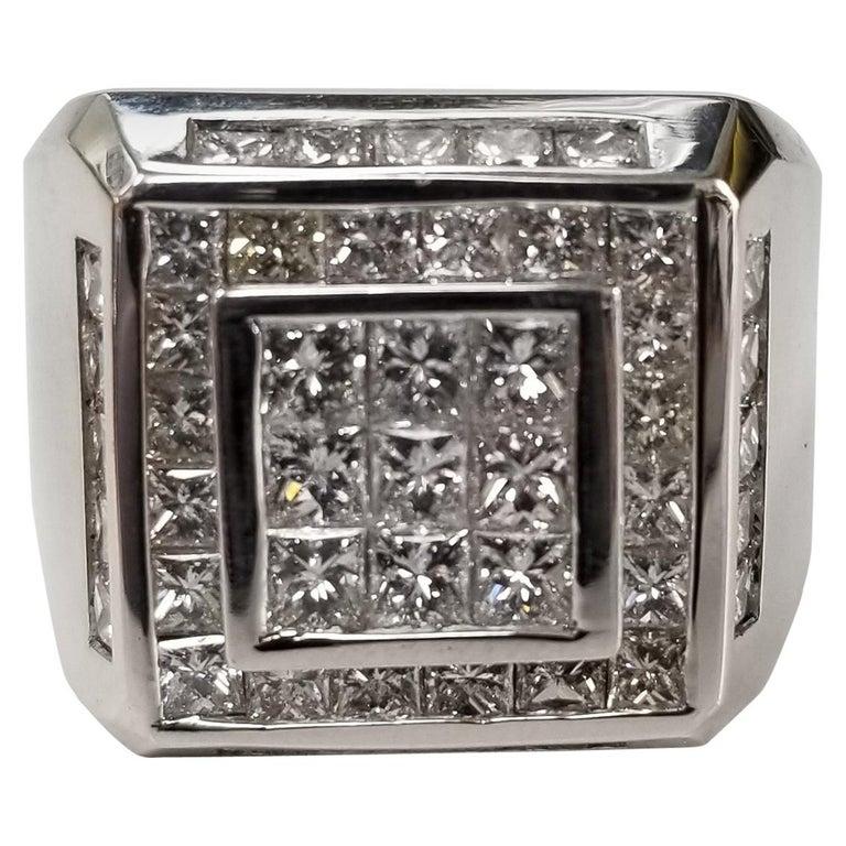 14 Karat White Gold Men's Princess Cut Diamond Channel Set Ring with 4.07 Carat For Sale