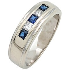 14 Karat White Gold Men's Sapphire and Diamond Wedding Band