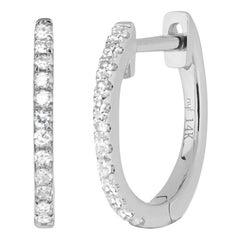 14 Karat White Gold Mini 0.06 Carat Round Diamond Hoop Earrings