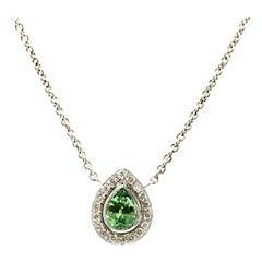 14 Karat White Gold Mint Tourmaline and Diamond Necklace