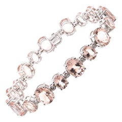 14 Karat White Gold Morganite and Diamond Tennis Bracelet