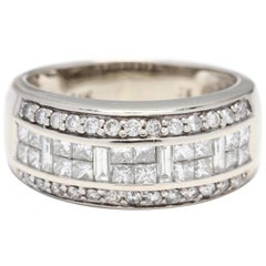 14 Karat White Gold Multi-Diamond Wide Band