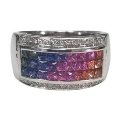 14 Karat White Gold Multicolored Princess Cut Sapphires Surrounded by Diamonds