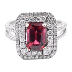 14 Karat White Gold Natural Red Spinel and Diamond Ring