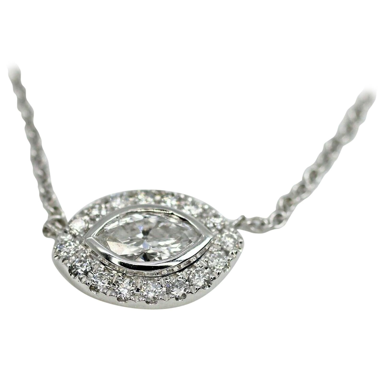 14 Karat White Gold Necklace with a Marquise and Halo