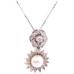 14 Karat White Gold Necklace with Diamond and Cultured Pearl Pendant