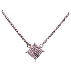 14 Karat White Gold Necklace with Diamond Pendant