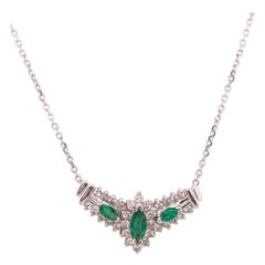 14 Karat White Gold Necklace with Soldered Diamond and Emerald Pendant