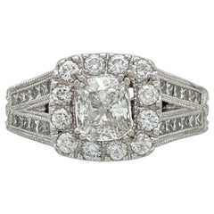 14 Karat White Gold Neil Lane 1 Carat Cushion Cut Diamond Ring 2 Carat